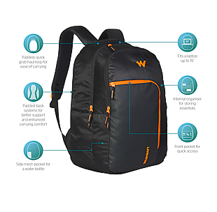 Wildcraft Doyen Laptop Backpack With Internal Organizer - Black